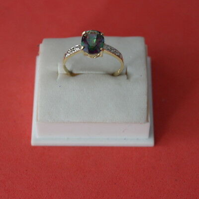 Beautiful 9Ct Yellow Gold Natural Mystic Topaz & Diamond Ring Size O In  Box