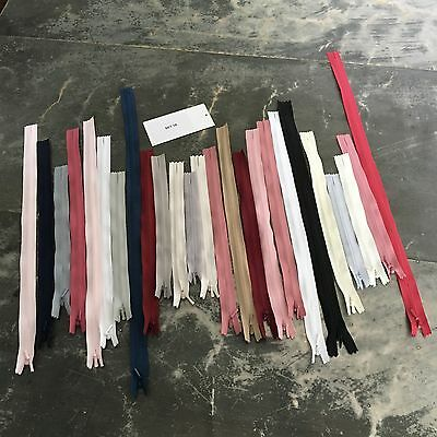 25 x YKK INVISIBLE Zips Assorted Colours Bulk Mixed Sizes 14 - 46 cm Set 18