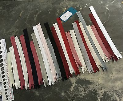 25 x YKK INVISIBLE Zips Assorted Colours Mixed Sizes 14 - 32 cm Set 21