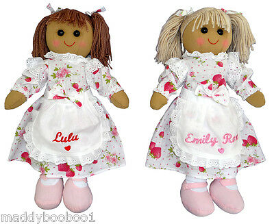 Personalised 40cm Rag Doll Birthday Strawberry Cream Tea Dress Girls Xmas Gift