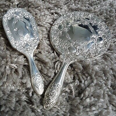 Small vintage dressing table vanity set would suit young girl mirror and brush