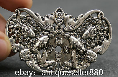 Chinese Miao Silver Hand Engraving Exquisite Fish Without Mishap Wealth Amulet