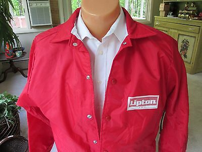 Vintage Mens Lipton Tea Promo Jacket Size Med Red White Flannel Lined Snap Nylon