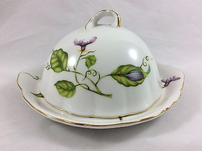 I. Godinger & Co Domed Butter Dish and Cover - Jardin Pattern with Gold Trim