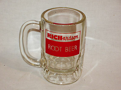 Vintage RICHARDSON ROOT BEER  Clear Heavy Glass Soda Mug Red Graphics