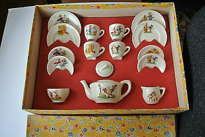 1950s 16 piece Childs Nursery Rhyme China Tea Set Service Boxed Vintage Ware