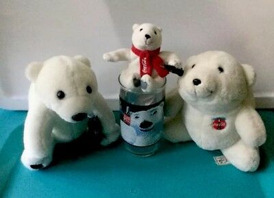 Preowned Vintage COCA COLA Lot Collectibles Polar Bear Plush Drink Glass