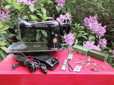 Vintage Singer 15-91 Sewing Machine with Manual and Attachments 1951 Centennial