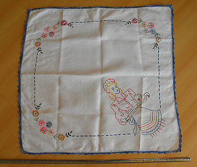 vintage hand-embroidered and hand-crocheted tablecloth Maid