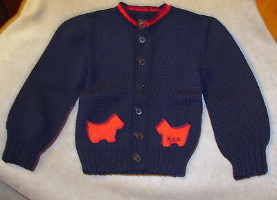 VINTAGE CHILD'S CARDIGAN SWEATER  - SCOTTIE DOGS Approx. size 5-6