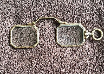 Antique 14k Gold Folding Lorgnette Opera Glasses