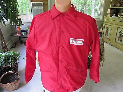 Vintage Mens Large Lipton Tea Promo Jacket Red Nylon Flannel Lined Snap Closure