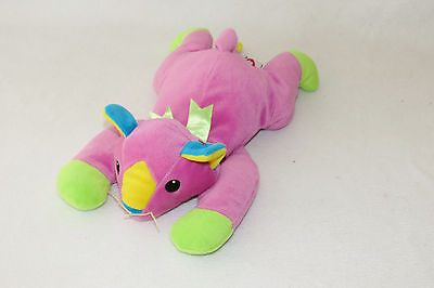 """1998 Baby Ty Meow Kitty Cat Pink Neon Green Pillow Pal Plush Stuffed 13"""" Toy"""