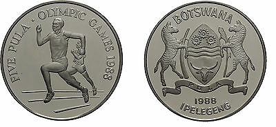1988 Botswana Large Silver Proof 5 Pula- Olympic Runner/Zebra/Shield