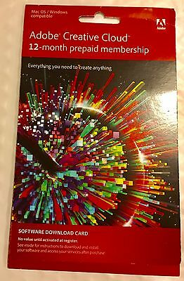 Adobe Creative Cloud 12 month subscription prepaid membership 1 year All Apps