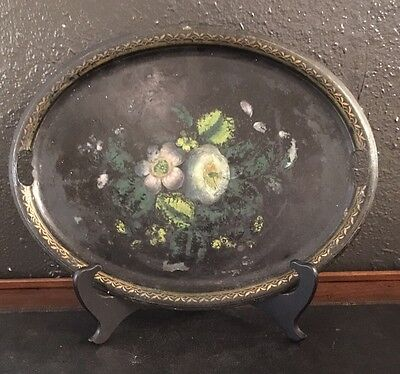 Lovely 19th C. Antique French Tole Floral Painted Tray