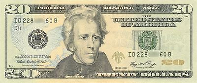 1 US $20 Dollar Bank Note Bill Circulated United States 1996 to today