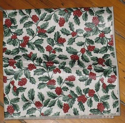 """Longaberger Baskets 17"""" Traditional Holly Rev Berry Red Table Square / Napkin Eu"""