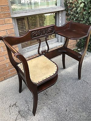 Antique Charlotte Chair Co Mahogany Telephone Bench Seat Chair Lyre Style Back