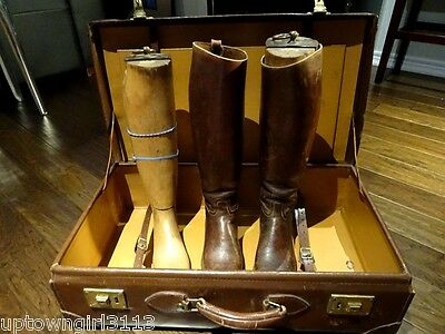 1920s English RIDING BOOTS +FORMS +LEATHER SUITCASE equestrian GENTLEMAN HUNTING