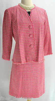 Mimi Maternity 2pc pink tweed shaggy blazer career jacket pencil skirt suit SZ S