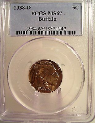 1938-D 5C Buffalo Nickel PCGS MS67 GEM PQ