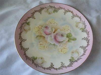 Vintage ES Prussia Collector Painted Plate - Pink Roses, White, Gold