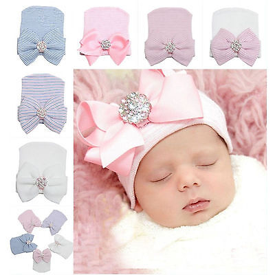 Cute Baby Newborn Girl Infant Toddler Bowknot Beanie Cute Hat Hospital Cap Comfy