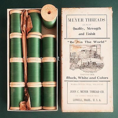 antique BOX unused SILK FINISH SEWING THREADS meyer lowell ma WOOD SPOOLS sewing
