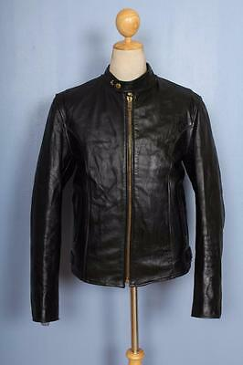 Vtg 60s CAFE RACER Leather Motorcycle Jacket Size Small