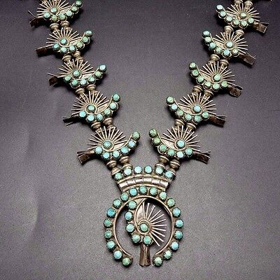 Old 1940s ZUNI Sterling Silver & TURQUOISE Petit Point SQUASH BLOSSOM Necklace