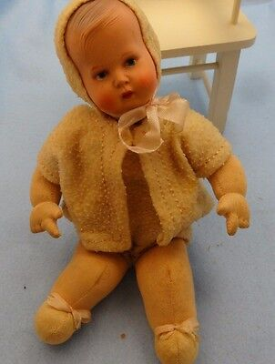 """Unusual Antique German Celluloid Head Baby, Soft Body, Used to do Something. 10"""""""