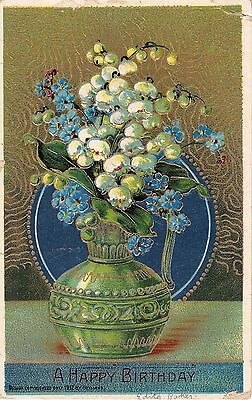 Green Vase Filled With Lily of the Valley & Forget-Me-Nots-1912 Heymann Birthday