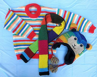 Girls / Boys Winter Rainbow Knitted Wool Jumper + Scarf + Hat - Suit 4 -5 years