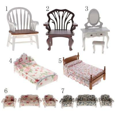 1:12 Dollhouse Miniatures Furniture Armchair/Dressing Table/Bed/Floral Sofa Set