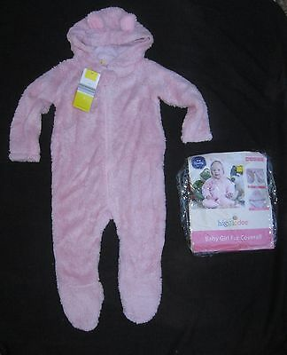 Girls Pink Bear Fur Coverall / Sleepsuit ~ Size 2 ~ New in Pack