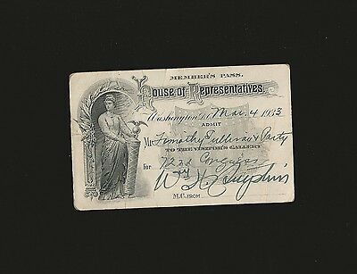 Vintage House Of Representatives Member's Visitor Pass March 4, 1933