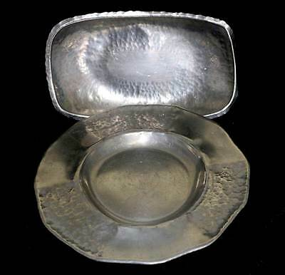 Vintage Norway TINN pair of hammered arts & crafts pewter platters
