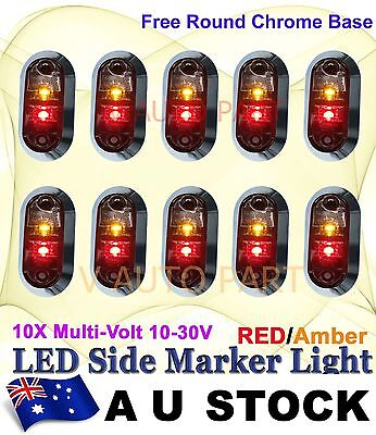 10X Red Amber Multivolt Side Light LED Marker Trailer Boat Round base AU STOCK