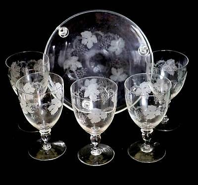 Vintage set of 5 grapevine etched large 1950s wine glasses and tray