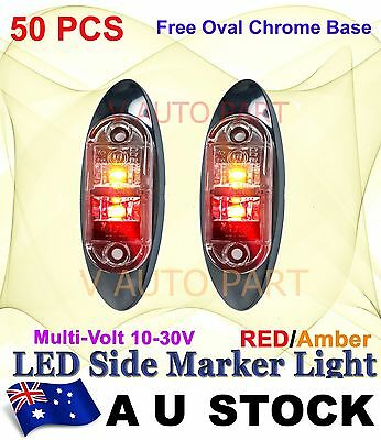 50X Red Amber Multivolt Side Light LED Marker Truck Clearance Oval base AU SHIP