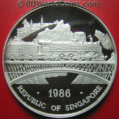 1986 SINGAPORE 1oz SILVER PROOF LOCOMOTIVE BRIDGE RAILROAD DOUBLE DRAGON OUNCE