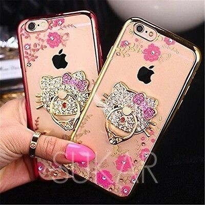Bling Diamond Crystal Ring Holder Kickstand Hello Kitty Case Cover For iPhone