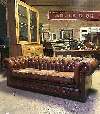 Stunning Vintage Tan Brown Leather Chesterfield Sofa