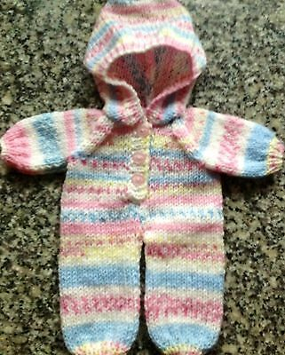 """Dolls clothes hand knitted one piece suit for 12-14""""  doll - very cute"""