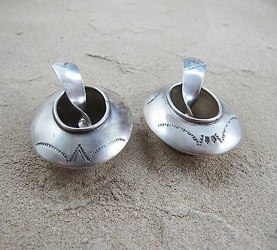 Vintage Navajo Sterling Silver Salt Dishes - Cellars & Spoons - Set of 2