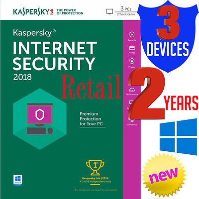 Kaspersky Internet Security Antivirus 2018 for 3 Devices Retail Windows 2 Year