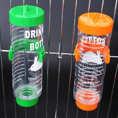 3 Sizes Plastic Hanging Hamster Guinea Pig Rabbit Water Bottle Dispenser Feeder