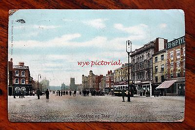 Posted 1904 Wrench Postcard Stockton On Tees Market Place General View People