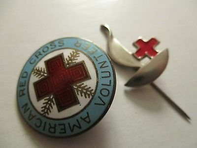 LOT 1940s Sterling American Red Cross Pin & Vintage French Red Cross stick pin